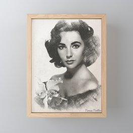 Elizabeth Taylor Sketch Framed Mini Art Print