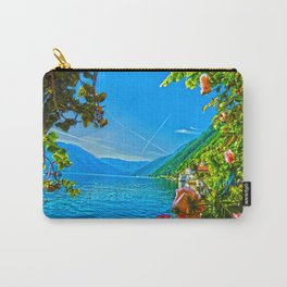 Flower-framed Lake Como Carry-All Pouch