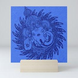 Ganesha Lineart Blue Mini Art Print