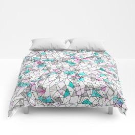 Pink and Teal Abstract Watercolor and Geometric Comforters