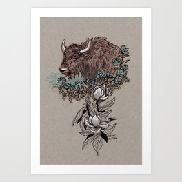 Buffalo Wildflower and Magnolias Art Print