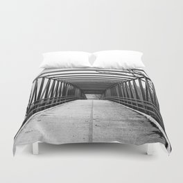 Bridge to Nowhere Black and White Photography Duvet Cover