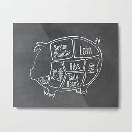 Pork Butcher Diagram (Pig Meat Chart) Metal Print