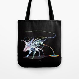Rat and rainbow. multicolored on dark on background - (Red eyes series) Tote Bag