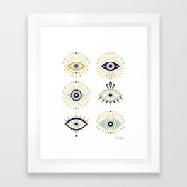 Evil Eye Collection on White Framed Art Print