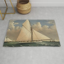 Vintage Boston Yacht - Puritan - Illustration (1885) Rug