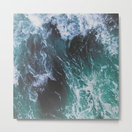 Deep Green and Turquoise Ocean Water and Sea Waves Metal Print