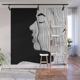 Woman drawing with lines Wall Mural