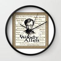 woody allen Wall Clocks featuring Woody Allen by Mark Matlock
