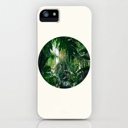 Mid Century Modern Round Circle Photo Graphic Design Green Tropical Jungle Leaves iPhone Case