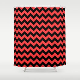 Large Donated Kidney Pink and Black Halloween Chevron Zig Zag Stripes Shower Curtain