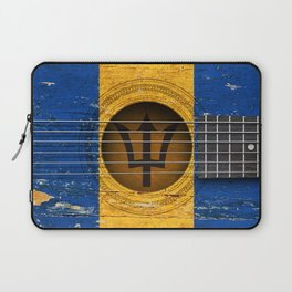 Old Vintage Acoustic Guitar with Barbados Flag Laptop Sleeve