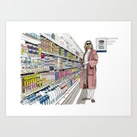 lebowski Art Prints featuring Jeffrey Lebowski and Milk. by DJayK