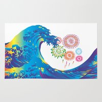 hokusai Area & Throw Rugs featuring Hokusai Rainbow & Fireworks  by FACTORIE