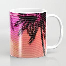 Pink vaporwave landscape with rocks and palms Coffee Mug