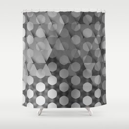 Circles on Triangles Shades of Gray Shower Curtain