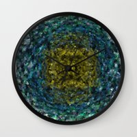 geode Wall Clocks featuring Geode Abstract 01 by Charma Rose