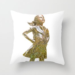 Fearless Girl Future Is Female 2 T-Shirt Throw Pillow