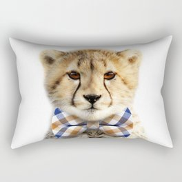 Baby Cheetah With Bow Tie, Baby Animals Art Print By Synplus Rectangular Pillow