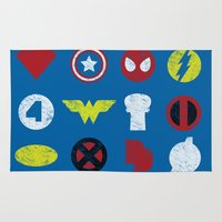super heroes Area & Throw Rugs featuring Super Simple Heroes by Resistance