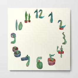 Clock Cactus Metal Print
