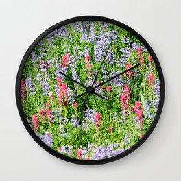 Springtime mountain wildflowers Wall Clock