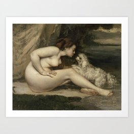Puppy Love : Nude Woman with A Dog Art Print