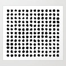 Black and White Minimal Minimalistic Polka Dots Brush Strokes Painting Art Print
