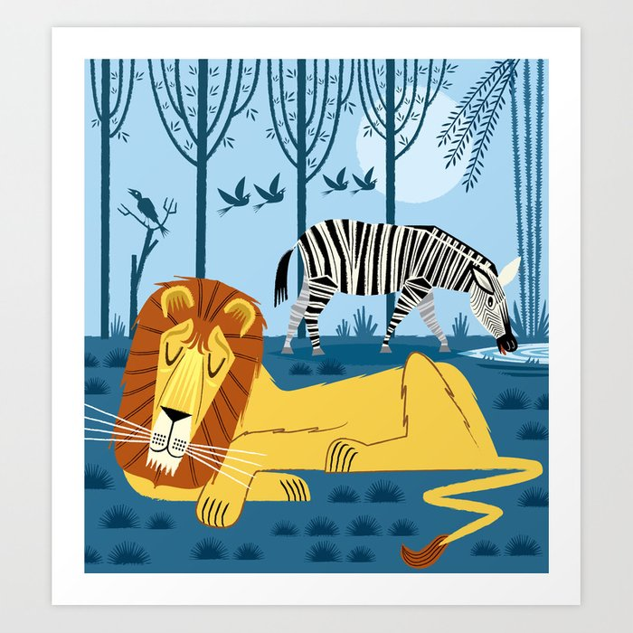 Whilst The Lion Sleeps Art Print