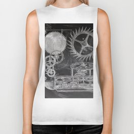 black and white vintage patent print chalkboard steampunk clock gear Biker Tank