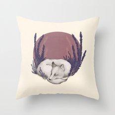 Fox & Lavender Throw Pillow