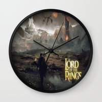 lord of the ring Wall Clocks featuring Shadow of mordor/ Lord of the ring original by Alphonse Chèvre