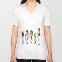 teen titans V-neck T-shirts featuring one direction as the teen titans by Muggle Merch