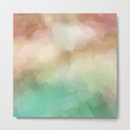 Abstract Blush Pink Green Design Metal Print