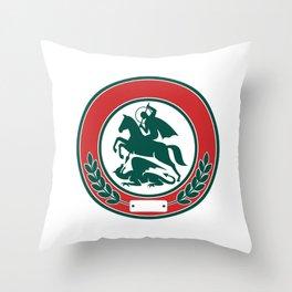 Saint George Slaying Dragon Circle Retro Throw Pillow