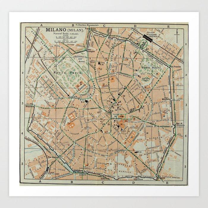 Vintage Map of Milan Italy (1911) Art Print by bravuramedia | Society6