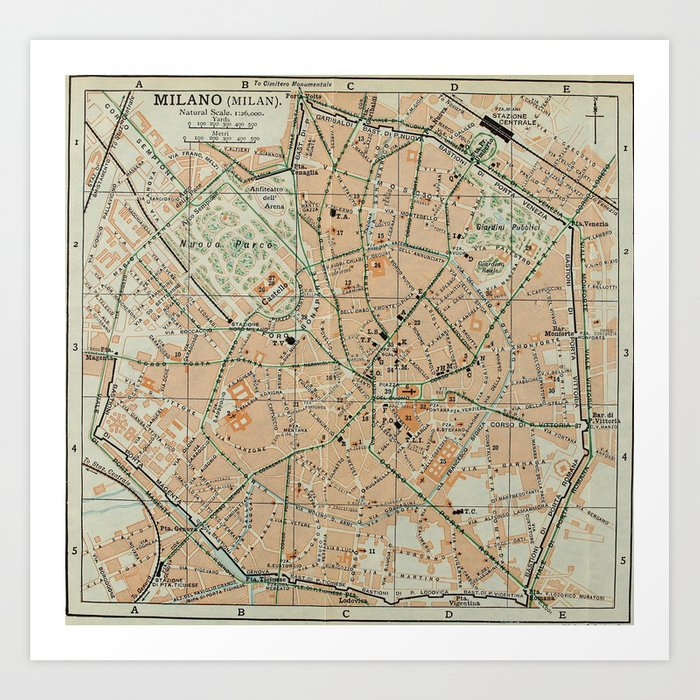 Vintage Map of Milan Italy (1911) Art Print by bravuramedia | Society6