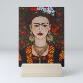 Frida with butterflies Mini Art Print