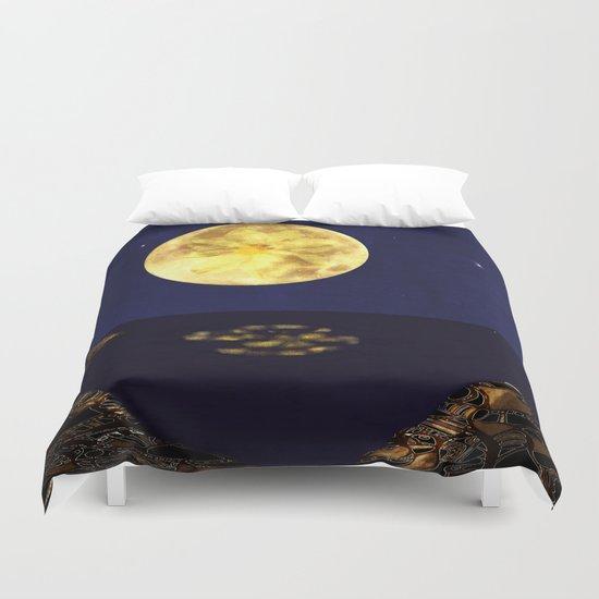 Yellow Dahlia Moon Duvet Cover