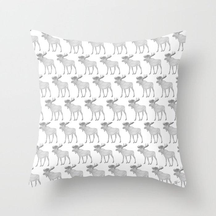 Moose parade Throw Pillow