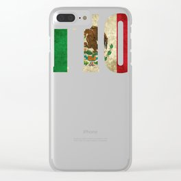 Tio Gift Mexican Design Mexican Flag Design For Mexican Pride Vintage Look Clear iPhone Case