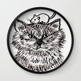 Grey Kitty and a Mouse Wall Clock