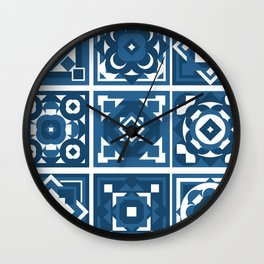 little blue tiles Wall Clock