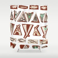 pee wee Shower Curtains featuring Tee-Pee by Colette Reders