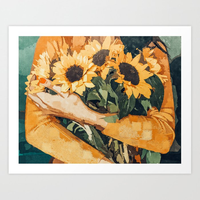 Holding Sunflowers #society6 #illustration #nature #painting Art Print