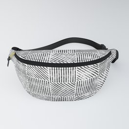 White and Black Distressed Diagonal Lines Pattern Vintage Unique Artistic Style Design Fanny Pack