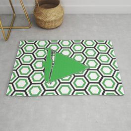 Tropical Green Sailing Sailboat on Modern Background Rug
