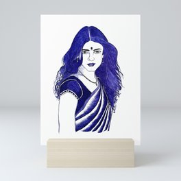 women in saree Mini Art Print