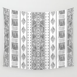 Mud Cloth White and Black Vertical Pattern Wall Tapestry