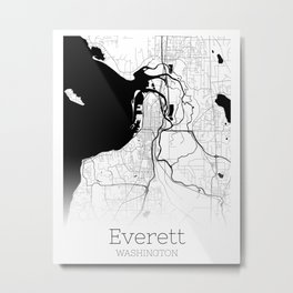 City Map Neck Gator Everett Washington Metal Print